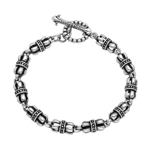 TWISTED BLADE SILVER CROWN-LINK BRACELET