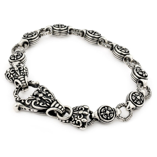 TWISTED BLADE INTRICATE ROUND LINK BRACELET