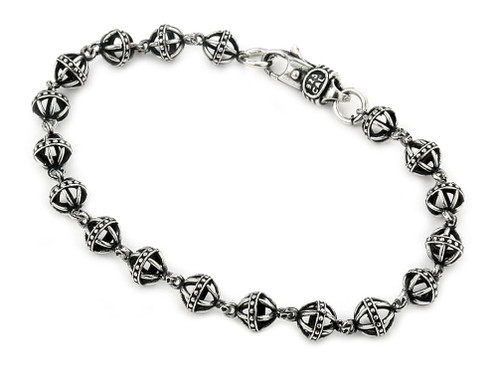 TWISTED BLADE SILVER MEDIUM 6MM STUDDED BALL LINK BRACELET