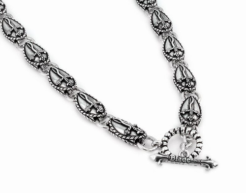 TWISTED BLADE SILVER 11MM LARGE OVAL DAGGER LINK NECKLACE