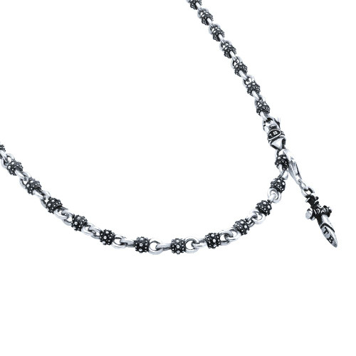 TWISTED BLADE SILVER STUDDED BALL LINK NECKLACE WITH DANGLING DAGGER CHARM