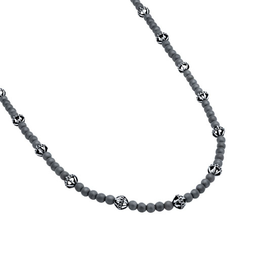 TWISTED BLADE NECKLACE WITH MATTE HEMATITE BEADS