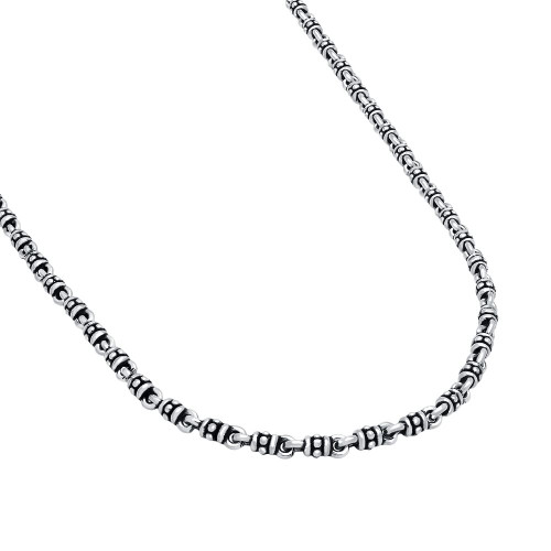 TWISTED BLADE SILVER 5MM STUDDED LINK NECKLACE