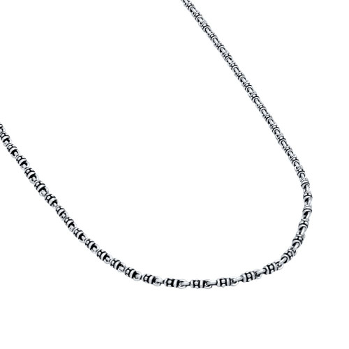 TWISTED BLADE SILVER 3.5MM STUDDED LINK NECKLACE