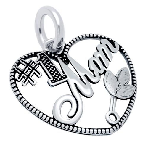 SILVER #1 MOM HEART CHARM