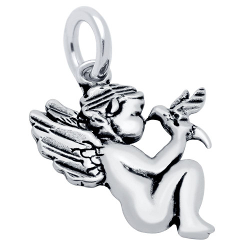 CHERUB AND BIRD CHARM