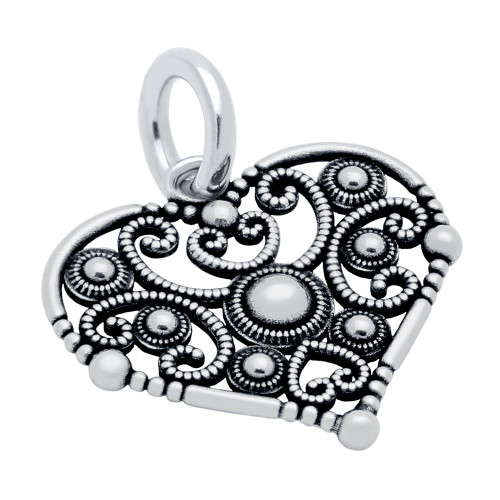 INTRICATE DETAILED 19MM FILIGREE HEART CHARM