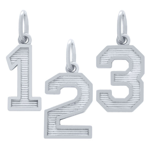 RHODIUM PLATED NUMBER CHARM