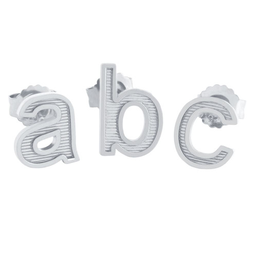 RHODIUM PLATED LOWERCASE INITIALS EARRING (SINGLE)