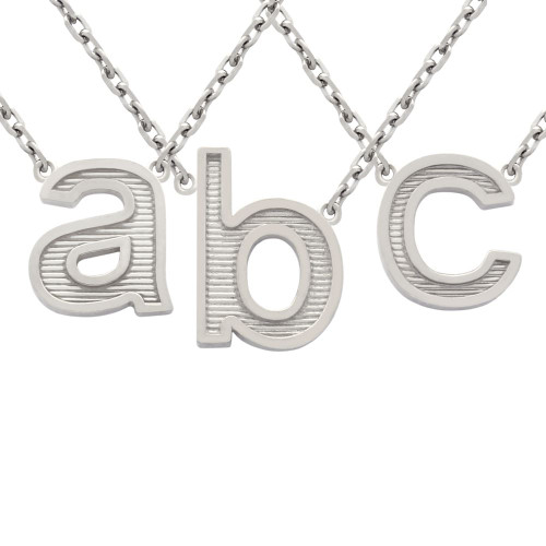 """RHODIUM PLATED LOWERCASE INITIALS NECKLACE 16"""" + 2"""""""