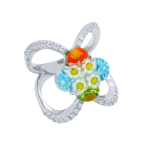 MULTICOLOR MURANO MILLEFIORI 14MM CLOVER SPLIT SHANK CZ RING