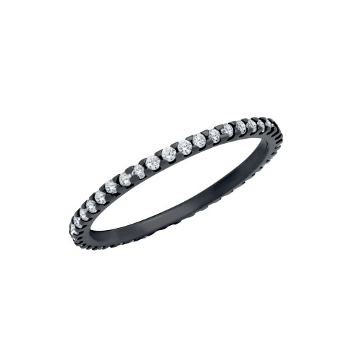 BLACK RHODIUM PLATED ETERNITY WHITE CZ STACKABLE BAND RING
