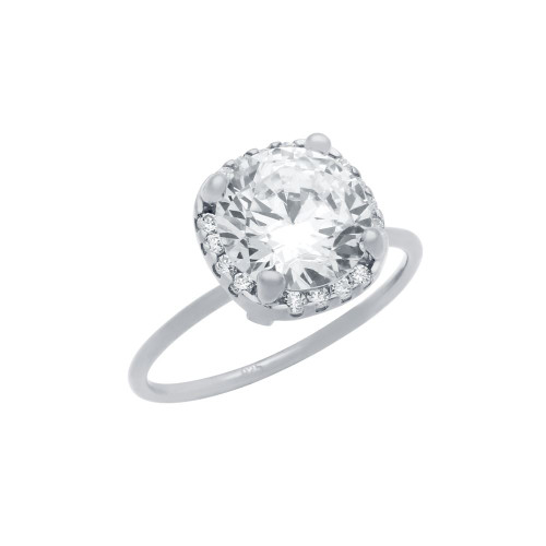 RHODIUM PLATED CLEAR 9MM ROUND CZ RING WITH SQUARE DESIGN SURROUNDING CLEAR CZ STONES