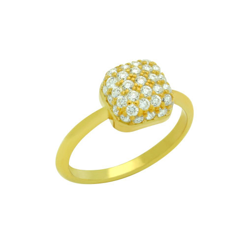 GOLD PLATED RING WITH CUSHION-SHAPE CZ PAVE HEAD