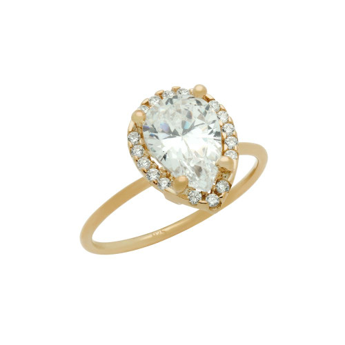 ROSE GOLD PLATED 7X10MM CLEAR TEARDROP CZ RING WITH SURROUNDING CZ STONES