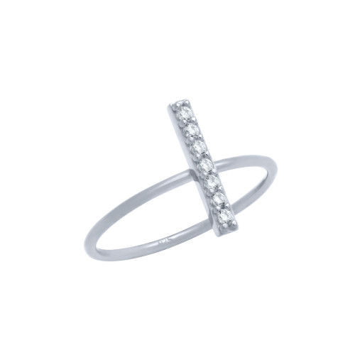RHODIUM PLATED STACKABLE RING WITH CZ PAVE BAR