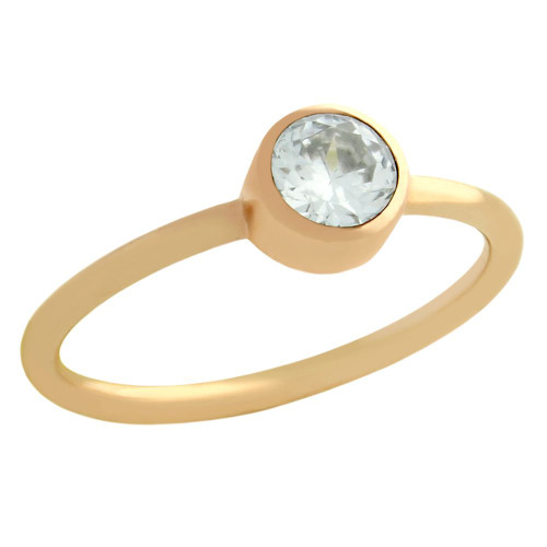 ROSE GOLD PLATED 5MM CLEAR SWAROVSKI CZ STACKABLE RING