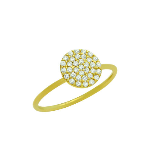 GOLD PLATED PAVE CZ DISK STACKABLE RING