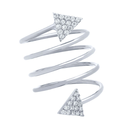 """RHODIUM PLATED SPIRAL """"SPRING RING"""" WITH CZ PAVE TRIANGLES"""