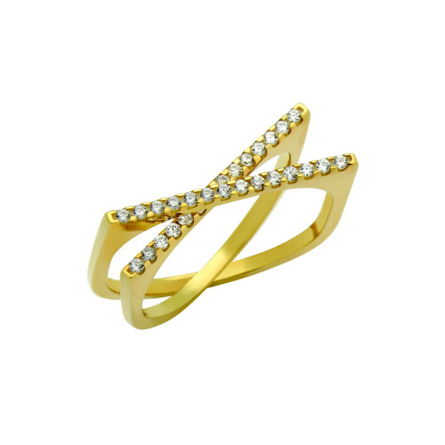 "GOLD PLATED SPLIT-DOUBLE-SHANK ""X"" RING WITH CZ PAVE"