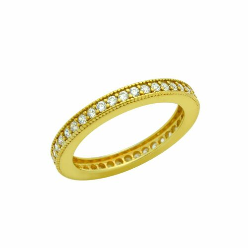 GOLD PLATED 1.75MM CZ ETERNITY BAND RING