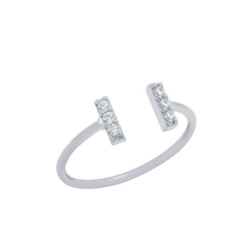 RHODIUM PLATED ADJUSTABLE STACKABLE RING WITH DOUBLE CZ BARS