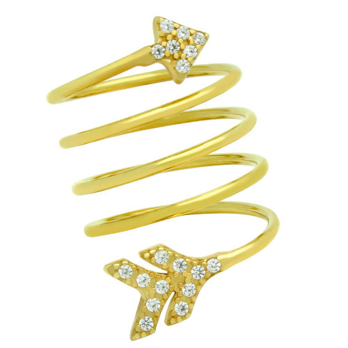 """GOLD PLATED SPIRAL """"SPRING RING"""" WITH CZ PAVE ARROW HEAD AND TAIL"""
