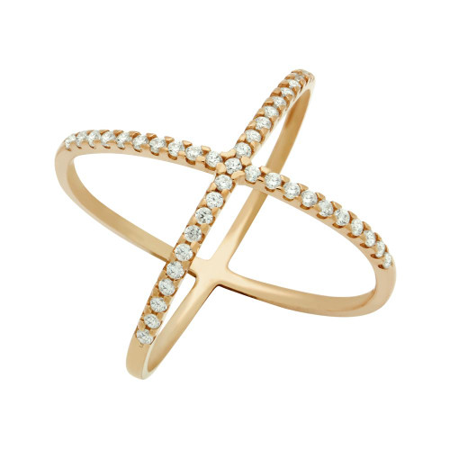 ROSE GOLD PLATED X RING WITH MEDIUM 1.25MM CZ PAVE