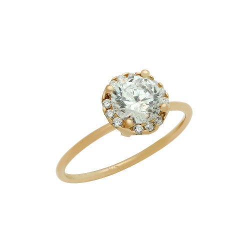 ROSE GOLD PLATED 6.5MM CLEAR ROUND CZ RING WITH SURROUNDING CLEAR CZ STONES