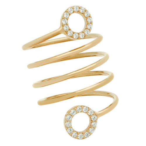 """ROSE GOLD PLATED SPIRAL """"SPRING RING"""" WITH CZ ETERNITY CIRCLES"""