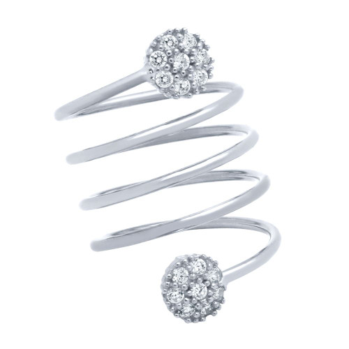 """RHODIUM PLATED SPIRAL """"SPRING RING"""" WITH ROUND CZ CLUSTERS"""