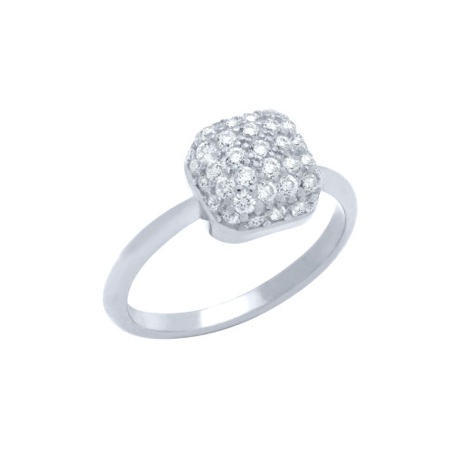 RHODIUM PLATED RING WITH CUSHION-SHAPE CZ PAVE HEAD