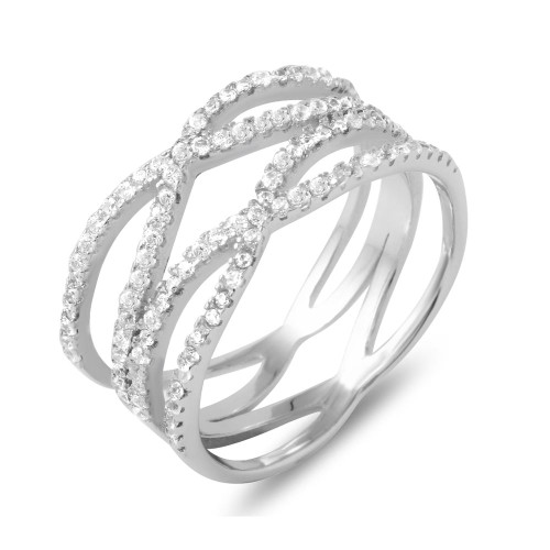 """RHODIUM PLATED DOUBLE """"X"""" CZ RING"""