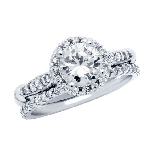 RHODIUM PLATED ROUND CZ HIGH SETTING RING AND ETERNITY BAND WEDDING SET