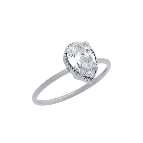 RHODIUM PLATED CLEAR 6X9MM TEARDROP CZ RING