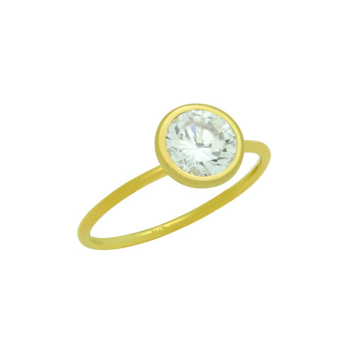 GOLD PLATED 7.5MM BEZEL SET CZ STACKABLE RING
