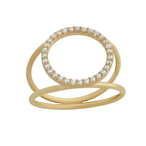 ROSE GOLD PLATED SPLIT SHANK RING WITH 18MM CZ ETERNITY CIRCLE