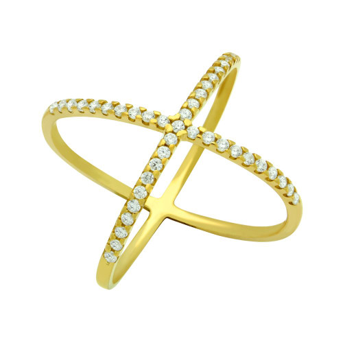 GOLD PLATED X RING WITH MEDIUM 1.25MM CZ PAVE