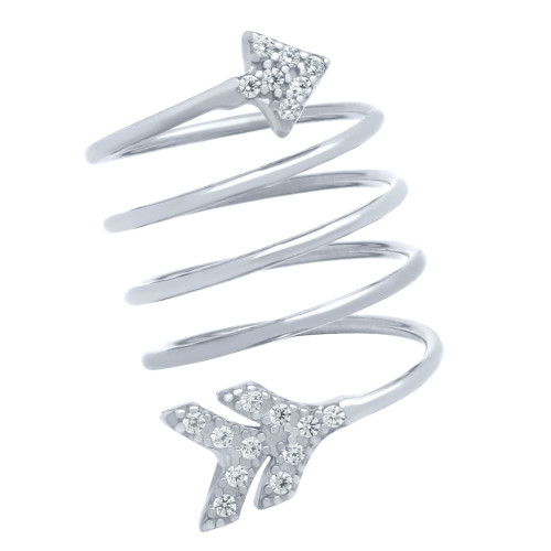 """RHODIUM PLATED SPIRAL """"SPRING RING"""" WITH CZ PAVE ARROW HEAD AND TAIL"""