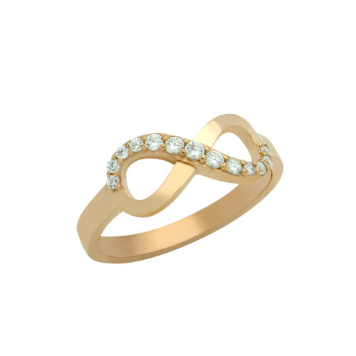 ROSE GOLD PLATED GRADUATING CZ INFINITY RING