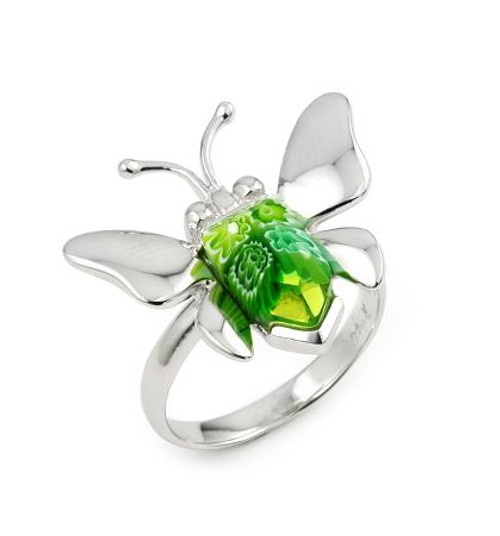 MURANO MILLEFIORI GREEN FACETED BUTTERFLY RING