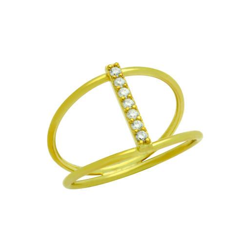 GOLD PLATED SPLIT SHANK CZ BAR RING