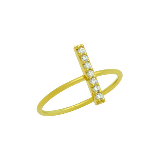 GOLD PLATED STACKABLE RING WITH CZ PAVE BAR