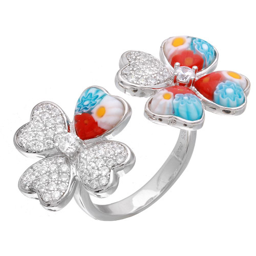 MULTICOLOR MURANO MILLEFIORI DOUBLE FLOWER CZ RING
