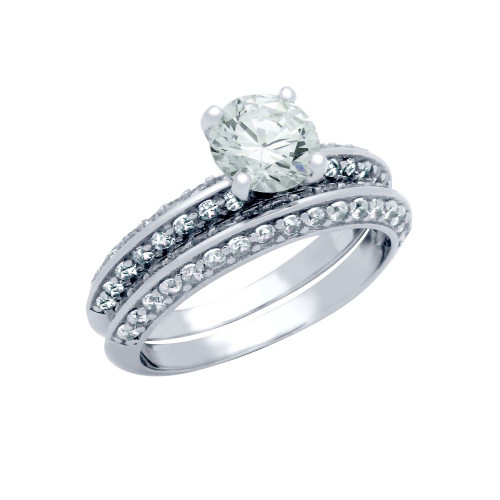 PAVE CZ WEDDING SET W/ 6MM RD CZ