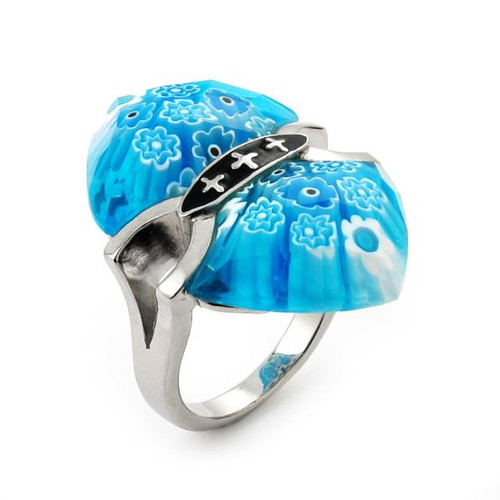 MURANO MILLEFIORI FACETED LIGHT BLUE RING WITH CROSS ACCENTS