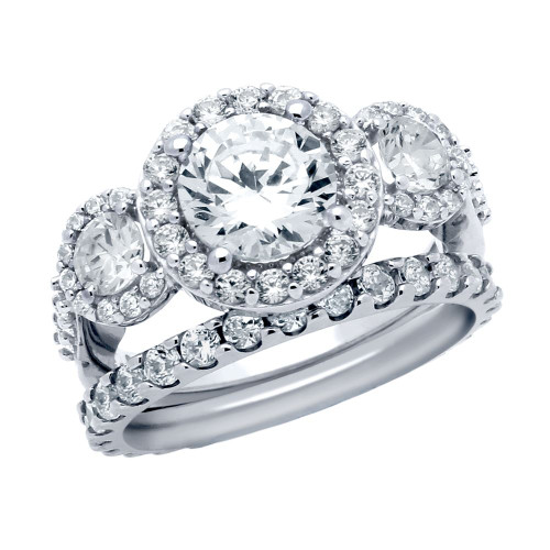 RHODIUM PLATED 3 CZ RING AND ETERNITY BAND WEDDING SET