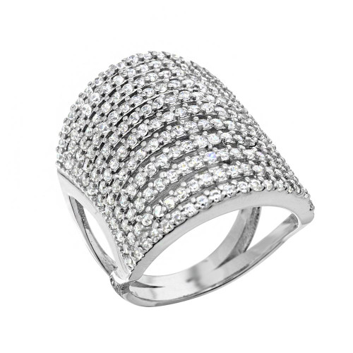 RHODIUM PLATED MULTI STRIPE CZ PAVE FASHION RING