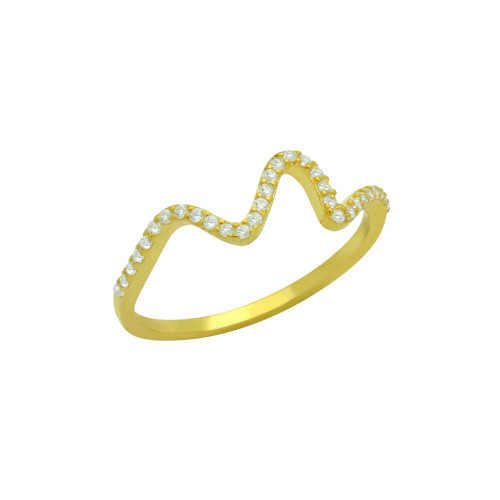 GOLD PLATED CZ WAVE DESIGN RING