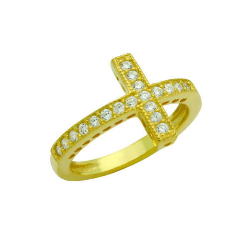 GOLD PLATED SIDEWAYS CZ CROSS RING